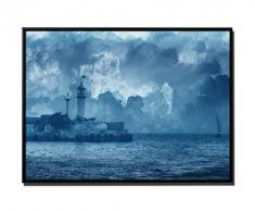 105 x 75 cm quadro - colore Blu Petrol - su Tela inkusive ombra fughe telaio Nero - pittura vela barca oltre faro