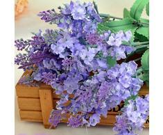 ZycShang Elegante e morbido cespuglio artificiale di lavanda della Provenza con fiori per bouquet da sposa, arredo per la casa, negozio, 2pz Purple