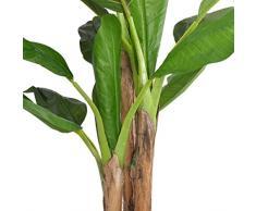 vidaXL Albero di Banane Pianta Artificiale con Vaso 175 cm Verde Fiori Finti
