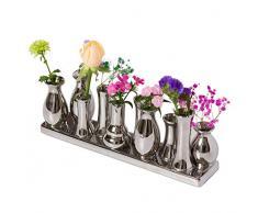 Set di vasi in Ceramica per Fiori, vasi in Ceramica colorato/Bianco, Fiori e Piante, Set Decorativo (10 vasi, Argento)