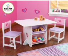 Kidkraft 26913 Set Tavolo con 2 Sedie Cuore in Legno con Contenitori per Bambini, Bianco/Pastello
