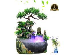Fontanella Decorativa da Interni, Fontana a Forma di Roccia Feng Shui in Poliresina in poliresina con Illuminazione a LED a Cambiamento di Colore Zen Meditation Waterfall 20 * 20 * 13cm