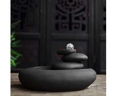 Fontane da interno Zen fontana feng shui palla, acquatico al coperto sue decorazioni in ufficio a casa per il desktop Acqua suono ornamenti tavolo fontana regali Fontane da giardino umidificatore,Nero
