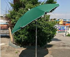 EUROLANDIA 89503VER - Ombrellone Parasole da Spiaggia in Alluminio da 220 cm con Snodo per la Reclinazione Colore Verde, per Spiaggia, Giardino e Balcone
