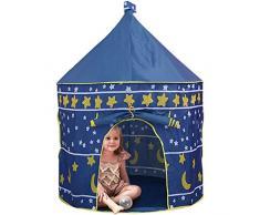 Tenda Gioco Piega, ZoneYan Giocattolo Tenda Pieghevole, Bambini Giocano Casa Tenda, Casetta Gioco Castello, Children Pop-Up Tent, Tenda Gioco Interni Esterni (blu)