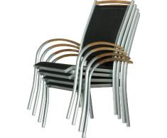 IB-Style - Mobili da gardino DIPLOMAT | 6 variazioni | 4x sedia impilabile in argento / nero / teak | grouppo - set - lounge - resistente alle intemperie