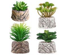 S.Lux Piante Grasse Verdi Decorative, Set di 4 Piante Artificiali Faux Cactus Piante Grasse con Vasi Grigi Pianta Artificiale Decorazione per Decorazione da Tavola Casa Balcone Ufficio