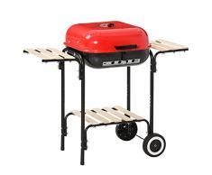 Outsunny BBQ Barbecue Quadrato Grill Griglia Carbone BBQ con 2 Vassoio in Ferro per Giardino Balcone, 98 x 49 x 81 cm