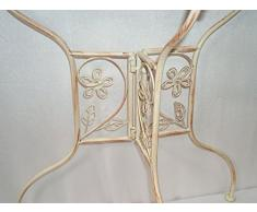 Stile Liberty Semicircolare Tavolino, Giardino Fare Una Scena Tavolino, Ferro Battuto Oggetto D'antiquariato Bianca