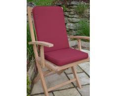Con sedile imbottito e schienale-Cuscino per sedia da giardino, per interni/esterni, confezione da 2 pezzi, con cuscini, colore: bordeaux