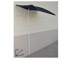 Vetrineinrete® Ombrellone a semicerchio da balcone a parete per terrazzo gazebo salvaspazio per zone d'ombra parasole da esterno 230 x 100 x 160 cm (Nero) X