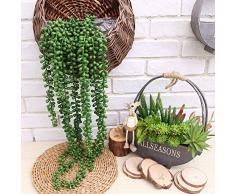 Outgeek - Piante grasse artificiali, 2 piante artificiali a forma di fili di perle, piante grasse da appendere, Green, L