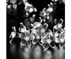 lederTEK alimentata solare fiore fatato luce laccio 7M 50 LED impermeabile Fiorire Natale lampada decorativa per scoperta, giardino, casa, Matrimonio, Natale Albero Partito di Capodanno (50 LED bianco)