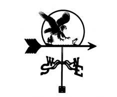 CNMJI Banderuola da Tetto per Fattoria, Laquila Pesca Il Pesce Segnavento in Acciaio Inossidabile Retro Scena di Fattoria Palo da Giardino Banderuola Strumenti di misurazione