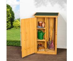 TecTake Armadio da esterno in legno casetta per gli attrezzi | con tetto piatto | 75 x 56 x 118 cm