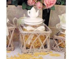 Barattolo in cestino rattan Shabby Chic Fiocco e Teiera Angelica Home & Country Versione Medium