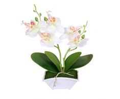 Whiie891203 - Orchidea Artificiale in Seta, Decorazione Floreale per Ufficio, palcoscenico, Feste, Soggiorno, scrivania, Matrimonio, Fotografia, Fai da Te, Colore: Bianco Bianco