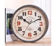 kinine Orologio da parete retrò in Europa e America monobraccio orologio parete orologio semplice decorativi in ferro battuto parete orologio parete giardino orologi da parete