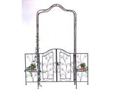 Arco di rose con porta Pforte 101759 in metallo Cancello da giardino 236x186cm Arrampicata-robusta