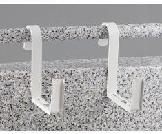 Menz titolare fioriera, regolabile, per ringhiera tubo (max. diametro di 5 cm), per fioriere larghezza 12-16 cm, 1 coppia, bianco - prodotto di qualità ''Made in Germany''