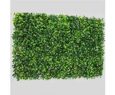 Kasahome 2 Pezzi Siepe Artificiale Decorativa Buxus Pannello Erba sintetica Pianta di Bosso Foglie Sintetiche per Interno ed Esterno 60x40 cm