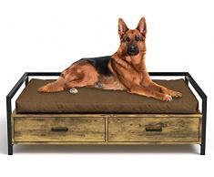 MSmask Cuccia per cani con cassetto, divano per cani, cuccia rialzata, telaio letto per cani di taglia piccola, media e grande, portata massima 70 kg (96 x 70 cm, marrone retrò