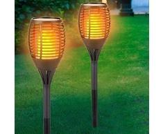 Set 2 Lampade Giardino Effetto Fuoco Altezza 59 cm a Ricarica Solare Fiaccola Torcia Luce 30 LED per Vialetti e Siepi