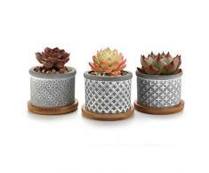 T4U 6CM Vasi in Cemento per Succulente Piante con Vassoio di bambù Set di 3, Piccoli Vaso per Cacti Erba Piante Grass Tondo Vasetti da Interno Moderno Decorazione per la Casa e L'Ufficio