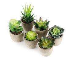 GoMaihe 6 Pezzi di Piante Artificiali Succulente in Vaso, 6 x 8cm Finte Piante Fiori Finti Artificiali con Vasi Grigi, Piante Artificiali da Interno e Esterno, Piante Grasse per Casa Decorazioni