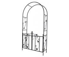 Arco per rose defacto con integr. Cancelletto per piante rampicanti da giardino in metallo – 225 x 115 x 37 cm – Porta bloccabile – Colore: nero [DF-020