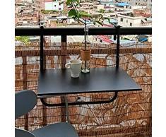 NBXLHAO Tavolo da Balcone Sospeso, Nero, 60 * 40 Cm, Tavolo da Balcone Pieghevole, Regolabile, Molto Stabile, Superficie Liscia, Facile da Pulire