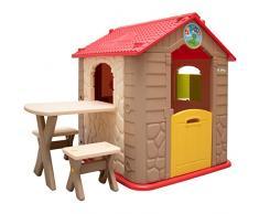 LittleTom Casetta Gioco per Bambini e Bambine incl 1 Tavolo 2 sgabelli casa di plastica per Interni ed Esterni Marrone Beige