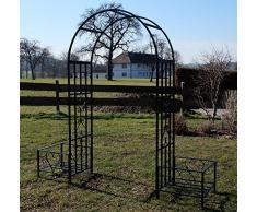 Elegante Arredo giardino arco rose fiori e piante rampicanti con 2 posti impianto di black metal Mod.5044-H di AS-S