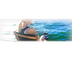 Bella d'Vine - Supporto per Bicchiere di Vino, per Esterni, con una Base con Ventosa, un Cinghietto o un Cuneo, per essere Usato in Barca, Roulotte, Idromassaggio, a Bordo Piscina, e durante i Picnic. 4 grigio