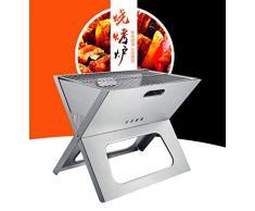 HuiHang Portatile, Campeggio allaperto, Mobile Barbecue a Carbone griglia Colonna griglia griglia in Acciaio Inox, Ampia Area Barbecue