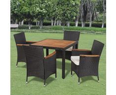 vidaXL Set mobili da giardino esterno in polirattan 4 sedie e tavolo con piano di legno