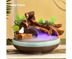 HONIC 110V-220V Creativo Acqua Fontana in Resina Ceramica Bonsai Fish Tank Office Desktop Waterscape Decorazione Feng Shui Ornamento Fontana: A