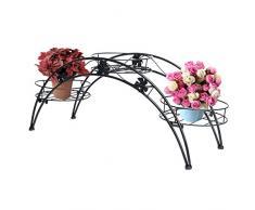 Arco porta piante da giardino, in metallo, con porta vasi per 3 vasi di fiori