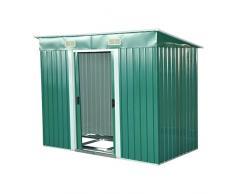 Outsunny - Box Casetta Porta Attrezzi da Giardino in Lamiera d'Acciaio 237 x 119 x 181cm, Verde
