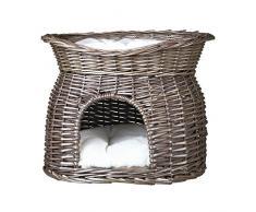 Trixie Cat cave in vimini con letto sulla parte superiore e cuscini, 54Â x 43Â x 37Â cm, grigio