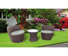 Salottino Mod. Anfora Set per giardino in polirattan colore marrone Anfora