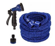 NBD® Tubo di Irrigazione, 150 Feet/45 m (25 Feet/7.5 m) Tubo irrigazione retrattile + Pistola di irrigazione 7 funzioni, Tubo di Irrigazione Flessibile e leggero estensibile fino a 3 volte con connettore di rubinetto connettore