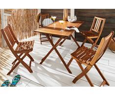 MSA Sam® Set da Giardino Holstebro, Set da Balcone in Legno di Acacia, costituito da 5 Pezzi, 1 Tavolo + 4 sedie, oleato, di Legno massello di Acacia Certificato FSC® 100%