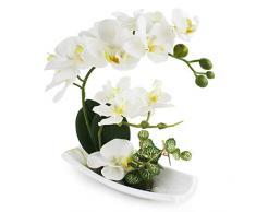 True Holiday composizione di orchidee artificiali, perfetta per vasi di porcellana bianca, come decorazione per interni. In plastica e realistica White-1