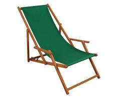 Sedia a sdraio, lettino prendisole Verde Sdraio da Giardino in legno Sedia a sdraio spiaggia sedia in legno massello mobili da giardino 10 – 304