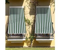 eurostile Tenda da Sole con Kit Anelli e Ganci in Tessuto Resistente da Esterno o Balcone Lavabile Colore Verde e Bianco 150x250 cm