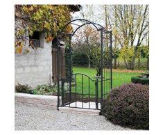 Arco Valvola Classic Garden Portale arco a Rose di giardino in ferro battuto Marrone martellato o grigio antracite 71 x 120 x 228 cm – Grigio Antracite