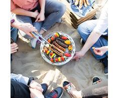 Barbecue a carbone di legna senza emissione di fumo Hugo di Grillsome! con ventilazione attiva Barbecue portatile da tavolo o balcone in acciaio inox antracite con sistema di accensione rapida, ventola e custodia inclusa
