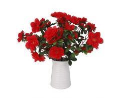 2x Mazzi Piante Artificiali Bouquet Fiore Azalea Decorazioni Matrimonio Casa Rosso