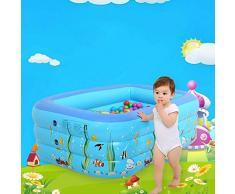 Piscina Rettangolare Bambino Gonfiabile idromassaggio idromassaggio Esterno Domestico Estate Bambini Spesso for Bambini Blu, Blu-260x165x65cm